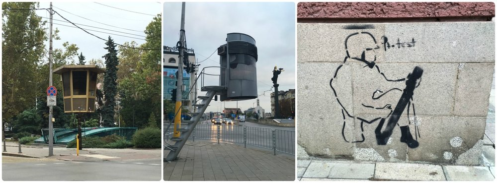 While in Sofia, Bulgaria, we walked past manned guard posts and political street art.