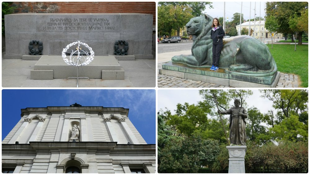 Sofia, Bulgaria: Nearby Alexander Nevsky Cathedral are many interesting places to see! Clockwise (from the top left): Tomb of the Unknown Soldier, Shannon in front of the Lion (taken from the Bulgarian Coat of Arms), National Gallery for Foreign Art Square 500, Monument of Tsar Samuil.