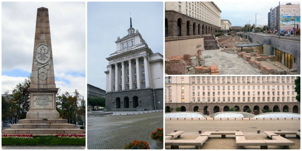 Sofia, Bulgaria, clockwise (from the left): Russian Monument, Presidency Building in Independence Square, Ancient Serdica Open Air Museum, Independence Square.
