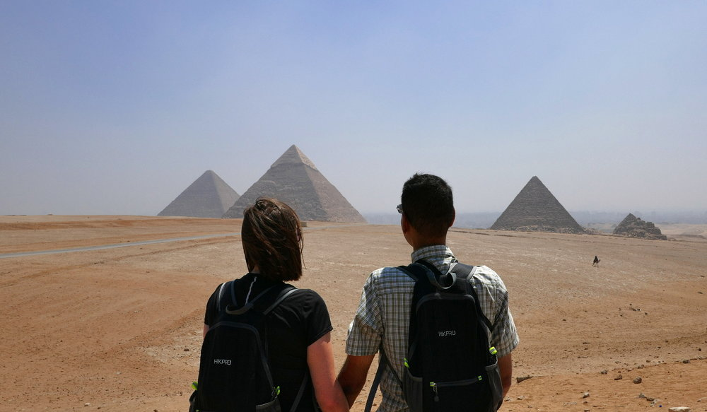 Us, looking out over the pyramids.