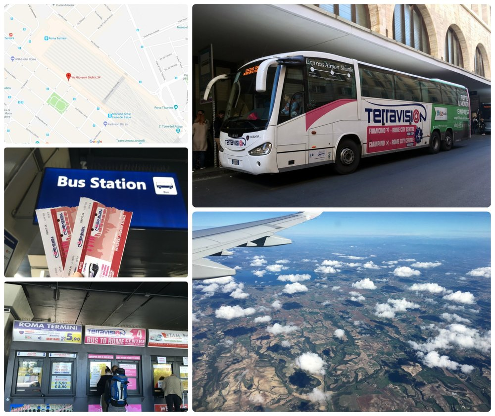 Rome, Italy airports (CIA and FCO) are located a bit of a distance outside of Rome city center. We took the bus ( Terravision ) to get into Rome and were dropped off at the main train stations (Termini Station). Clockwise (from the top left): A  Google map  indicating the stop where Terravision dropped us off and also picked up passengers returning to FCO airport, Terravision bus at Termini Station, the view of the Italian country side from the plane, follow the airport signs at FCO to get to the bus company kiosks, our tickets purchased at the airport bus station.