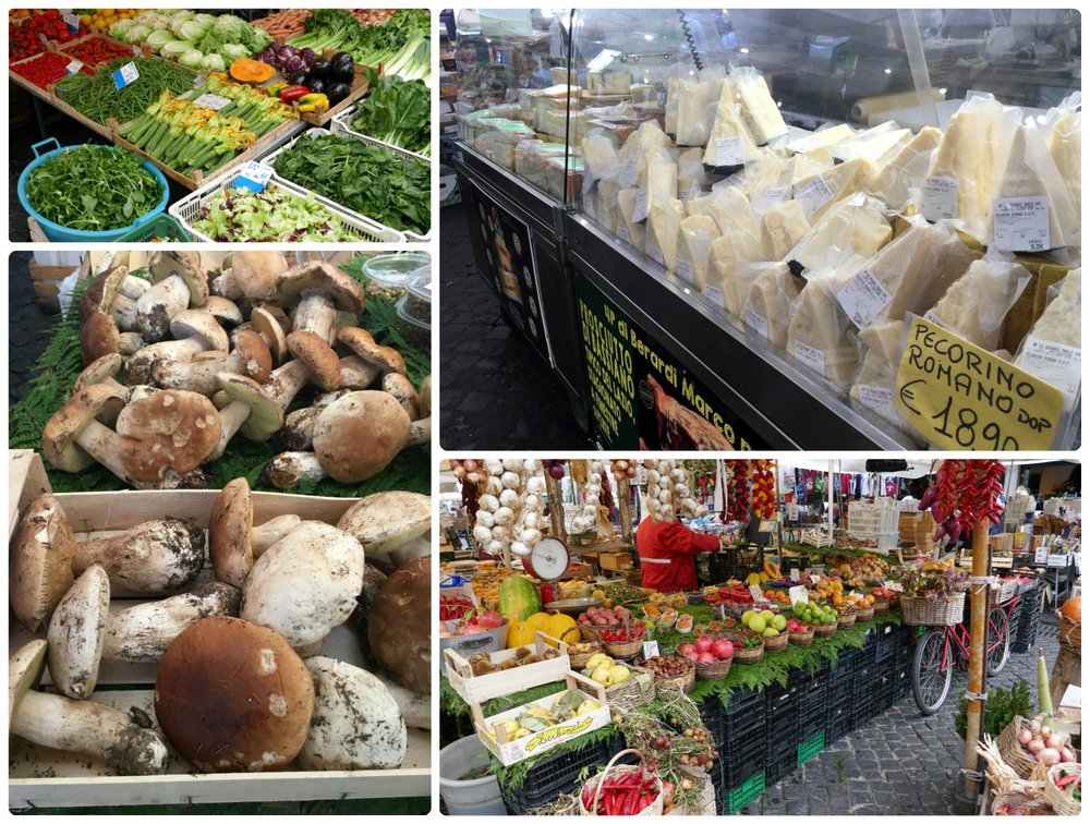 Campo de' Fiori Market is pictured here.The fresh produce markets in Rome, Italy are fantastic places to buy food!