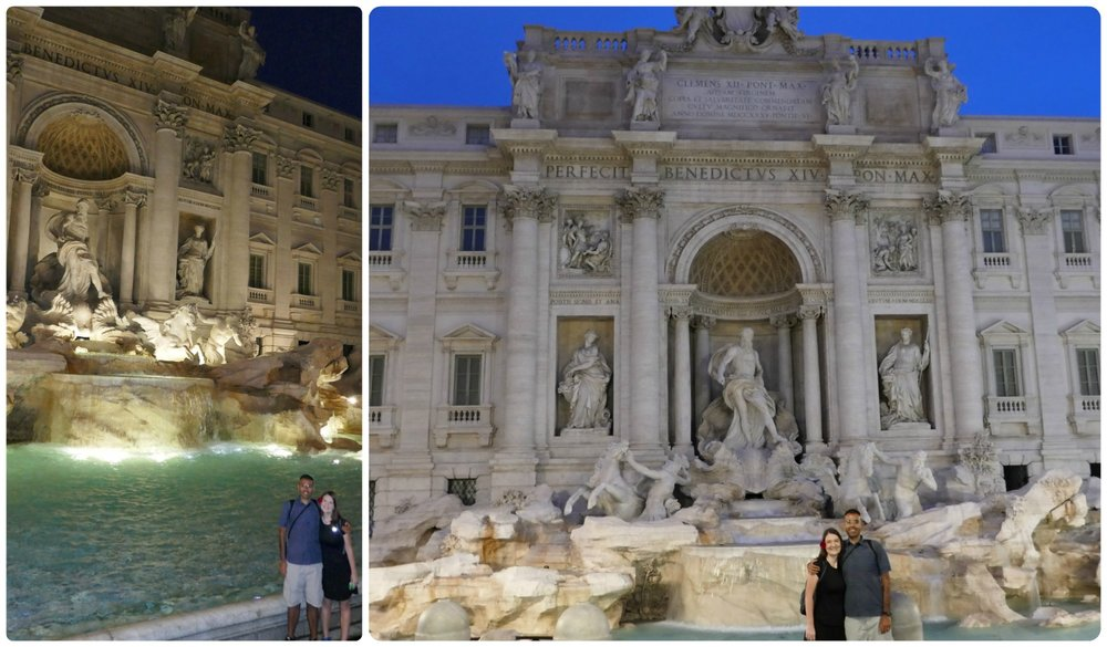 Even before sunrise, there was a scattering of visitors at the famous Trevi Fountain in Rome, Italy!