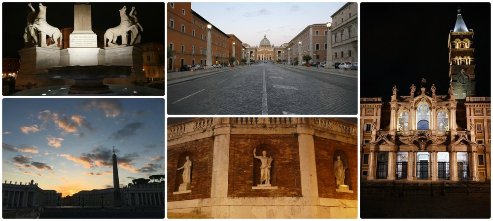 We started at 'zero dark thirty' (before sunrise) each day to see Rome's attractions, like the Vatican, before other tourists arrived. Clockwise (from the top left): Obelisco del Quirinale in Piazza del Quirinal before dawn, entering Vatican City State at sunrise, Basilica Papale di Santa Maria Maggiore, wall on the stairs leading to Quirinal Palace before dawn, sunrise in front of St. Peters Square in Vatican City State.