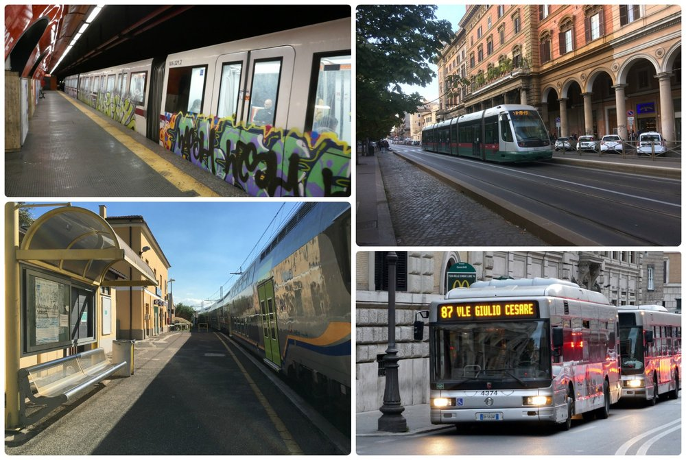 Public transportation in Rome, Italy is a great way to get around! Clockwise (from the top left): The Metro, a tram, buses, a train station.