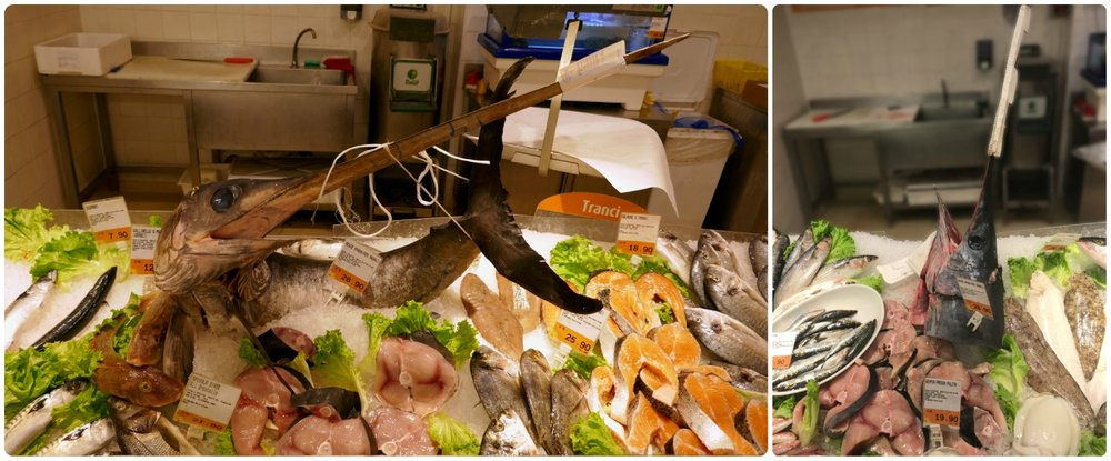 Conad grocery store in Rome, Italy. Swordfish isn't that all uncommon. However, it was a surprise to see it displayed in its entirety at the fish counter. Within a couple of days, most of the swordfish had been butchered and sold (right image).