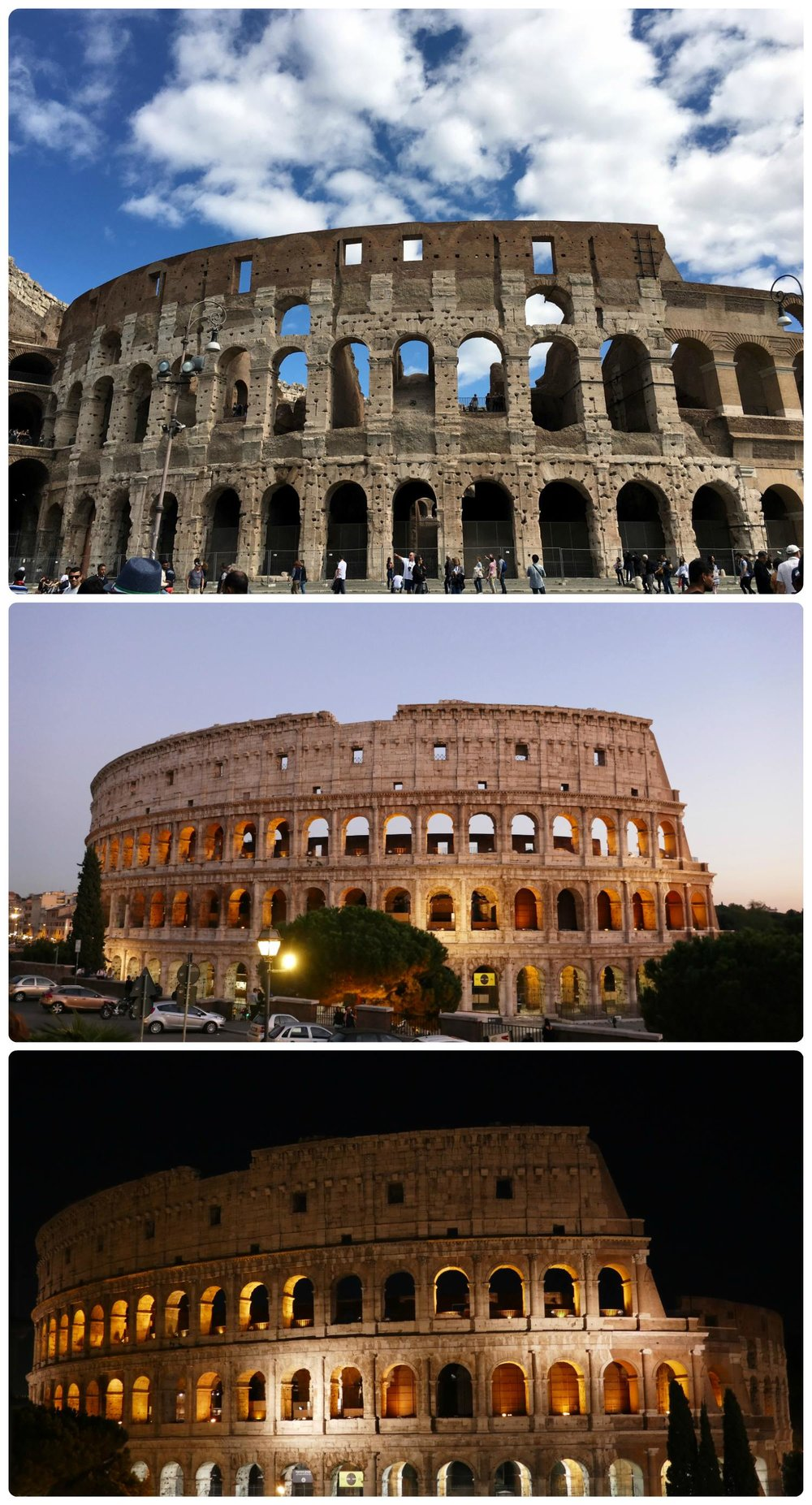 The Colosseum photographed during the day (top), at sunset (middle), and at night (bottom).