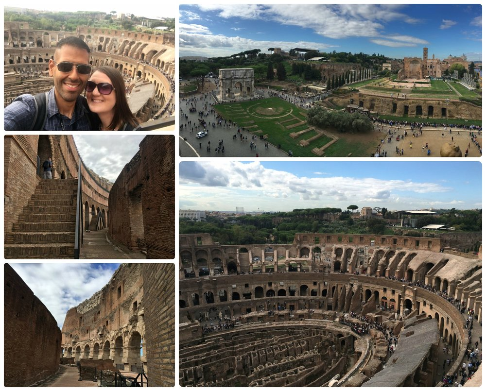 Views from the top tier/fifth level (Belvedere/Panoramic View Tour) of the Colosseum, which is only accessible through a guided tour. Clockwise (from the top left): Us at the very top, panorama of the Roman Forum, looking into the Roman Colosseum, the walkway leading to the top level, the final set of stairs before entering the highest publicly accessible point of the Roman Colosseum.