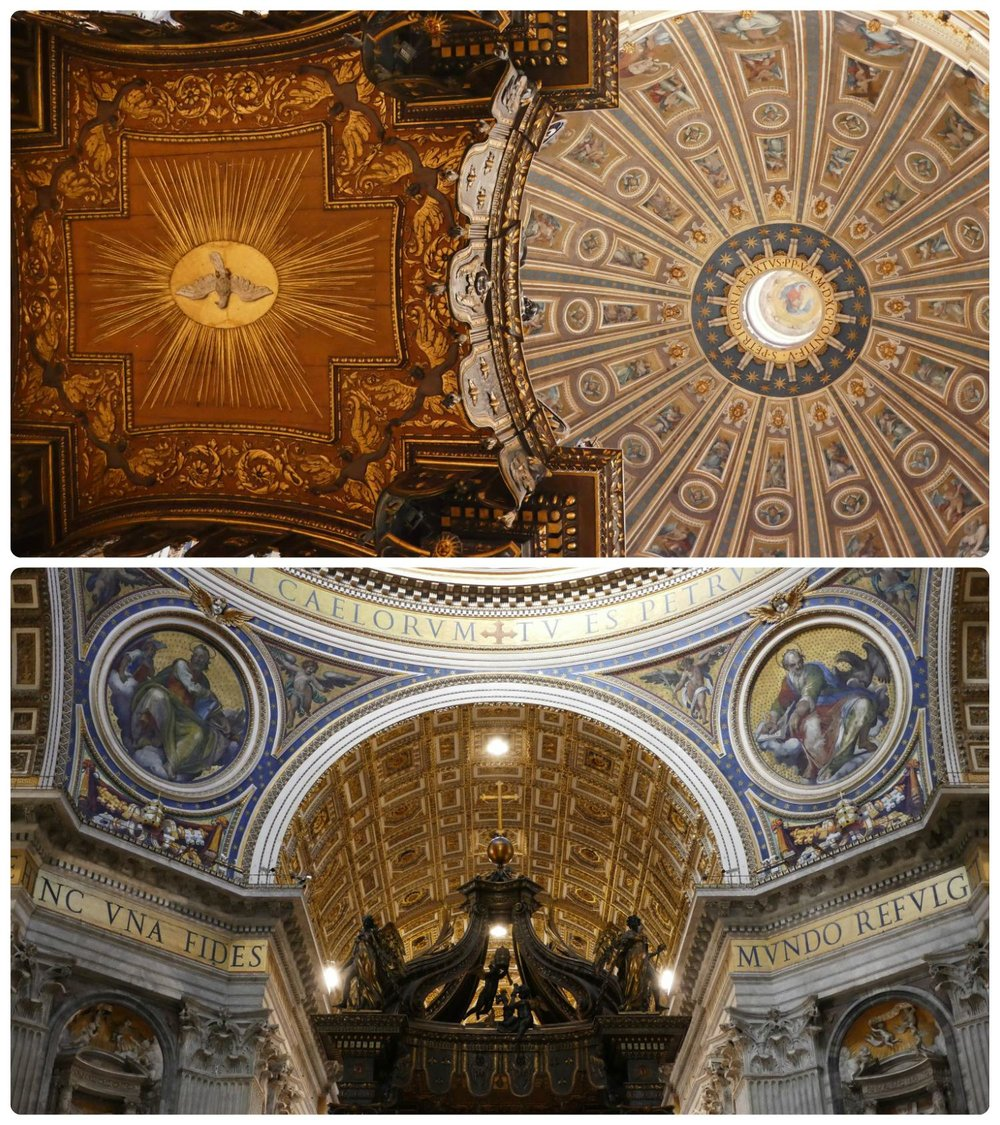 Vatican City State. Top Photo: The under side of Bernini's Baldachin (on the left) in contrast to the dome of the Vatican's St. Peter's Basilica. Bottom Photo: The top of Bernini's Baldachin and the magnificient surrounding cieling and arches.