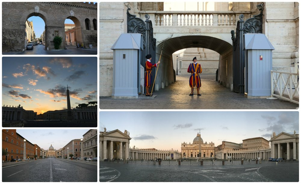Vatican City State. Clockwise (from the top left): The walls surrounding Vatican City, the Vatican Guards, St. Peter's Basilica Square at dawn, the road leading to St. Peter's Basilica, the sky in Vatican City State at sunrise.