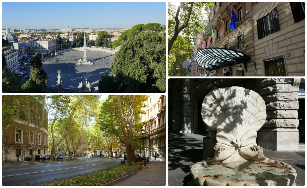 Rome, Italy. Clockwise (from the top left): Piazza del Popolo, a building on Via Veneto, Fontana delle Api (Fountain of the Bees) on Via Veneto, the winding path of Via Veneto.