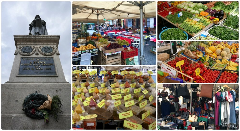 Campo de' Fiori Market, Square and statue of Bruno Giordano  in Rome, Italy.