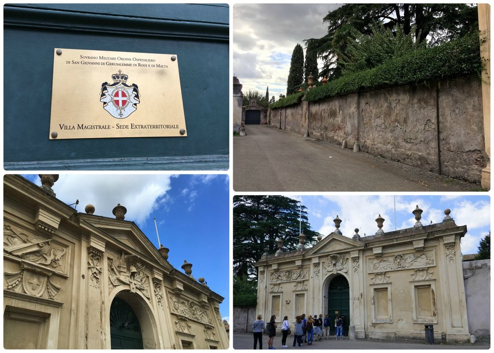 Aventine Hill  in Rome, Italy and the doorway that leads to what was once property of the Knights Templar and then of the Priory of the Knights of Malta.