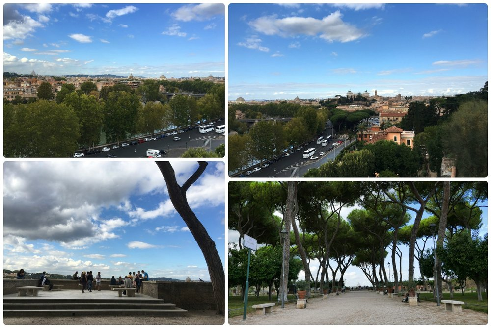 Orange Garden (Giardino degli Aranci) on Aventine Hill and its ocompaning spectular view of Rome, Italy.