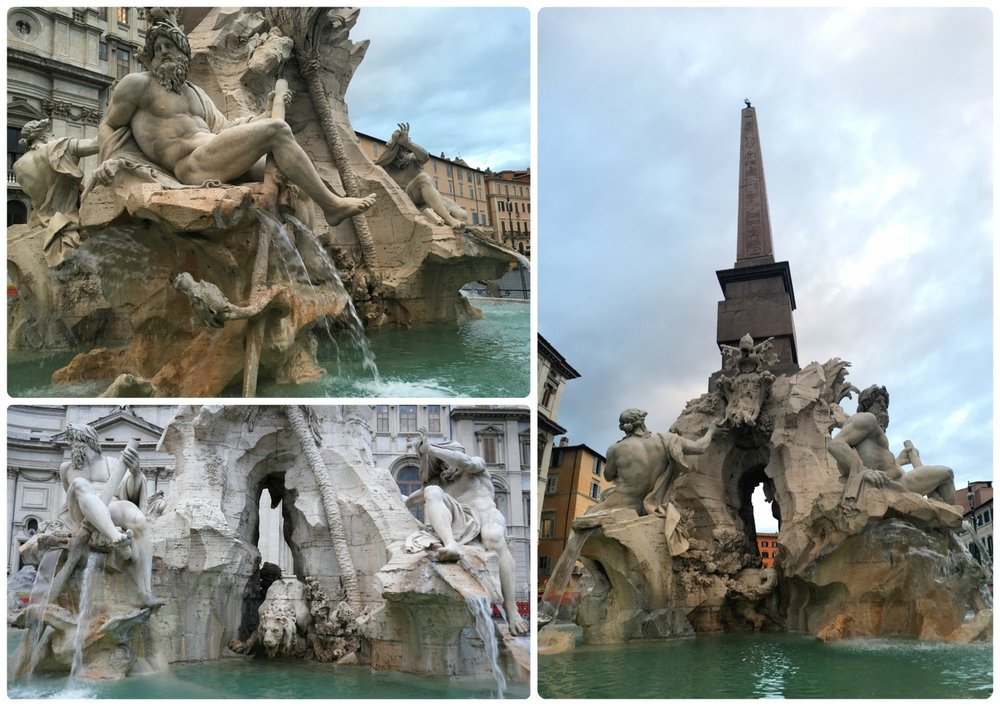 Fountain of the Four Rivers (Fontana dei Quattro Fiumi) in Piazza Navona  in Rome, Italy.