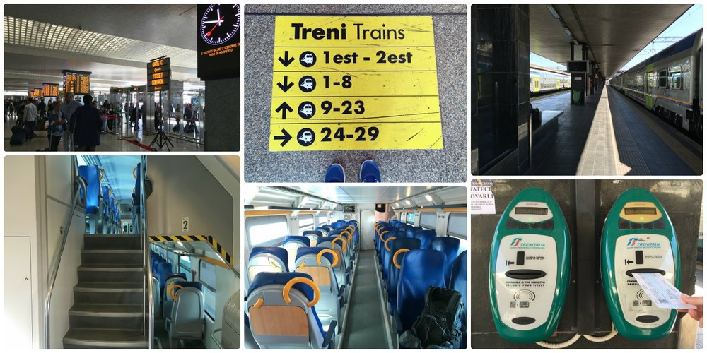 Termini Station train platforms, Rome, Italy. Platforms are located on the east side of Termini Station and can be found by following the bright yellow signs on the floor. Don't forget to validate your ticket on the platform before boarding the train!