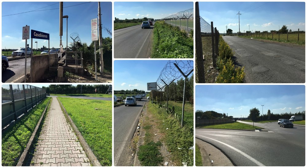 The walk from Casabianca Train Station to Rome Ciampino Airport (CIA). Exit the station (top left photo), and head east. Very little of the area will have sidewalk, and the path varies in width. The roundabout (bottom right photo), is the most challenging area to cross when there's traffic.
