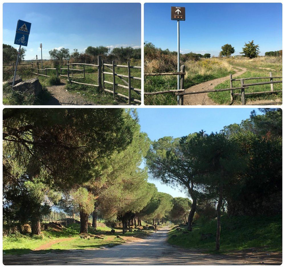 On the right side of the road, we spotted the walking path (top photos) marked with a brown Roma, Appia Antica sign (top right photo) and passed through the opening in the wooden fence. The path shortly widened and was linned with trees!