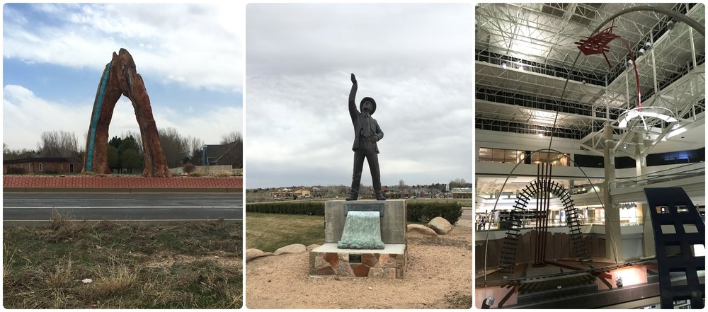 Exploring Colorado! In Greely we came across art pieces on our walks (two images on the left), and at the Denver Airport (DEN) we appreciated the art in the center of the airport terminal (right image).