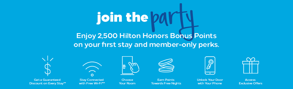 Hilton Honors Rewards Program Signup Bonus Points Promotion Code 2,500 Mattress Run Award Travel free nights