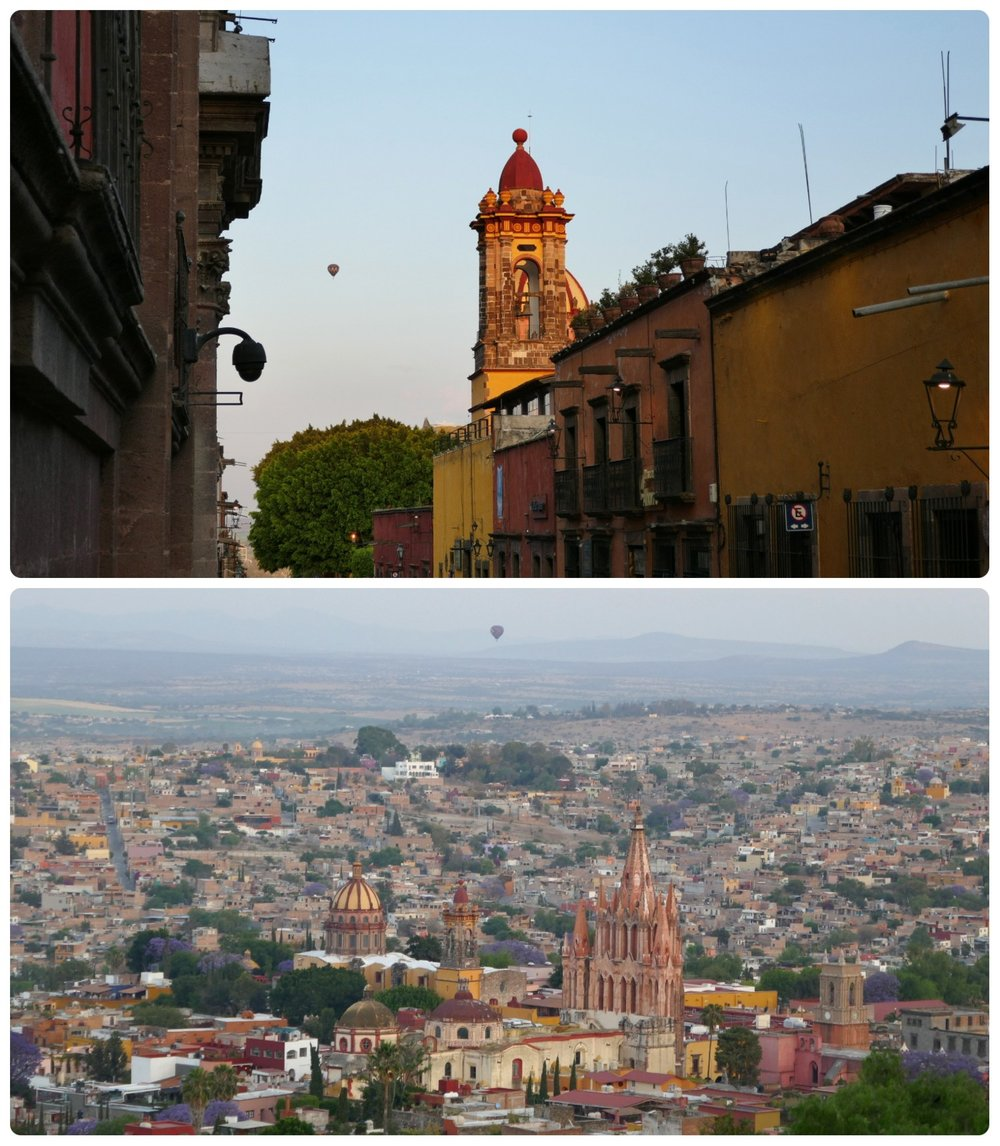 Just after sunrise the hot air balloons start to make their way over the city of San Miguel de Allende, Mexico.