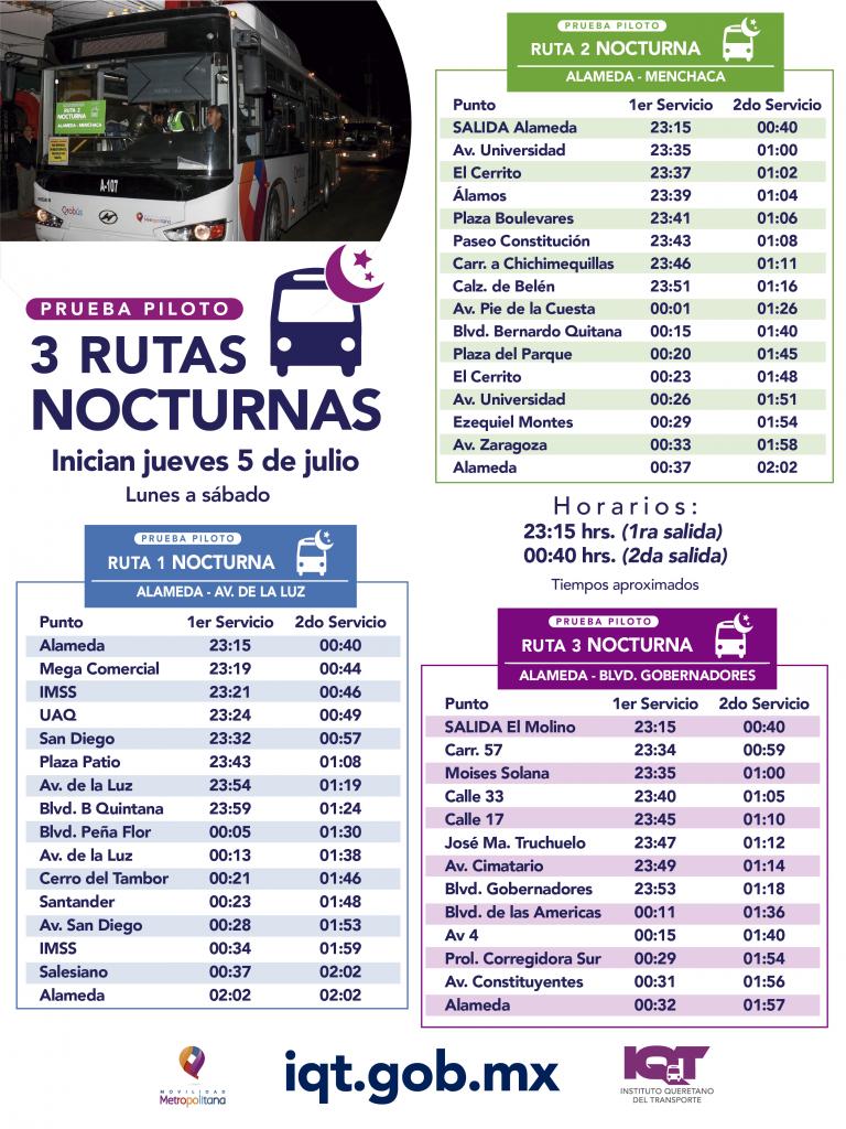 QROBus in Santiago de Queretaro, Mexico is piloting a few night bus routes!