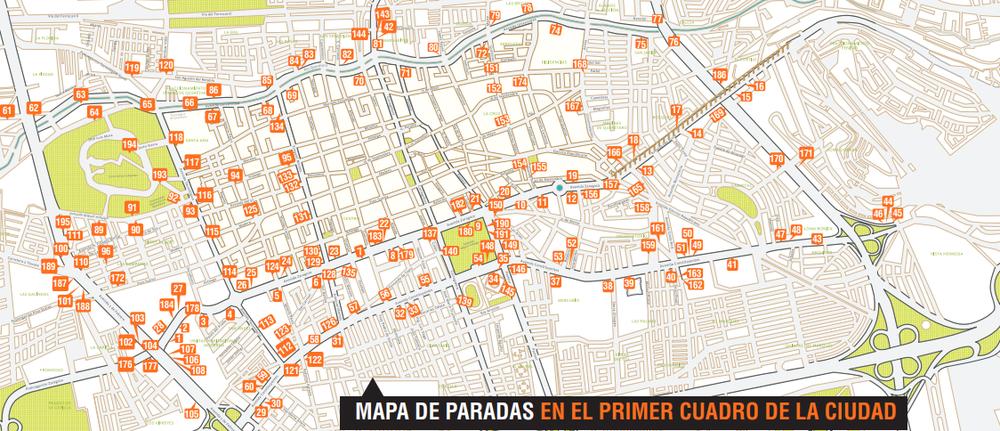 QROBus Santiago de Queretaro, Mexico Bus Route Map in City Center.