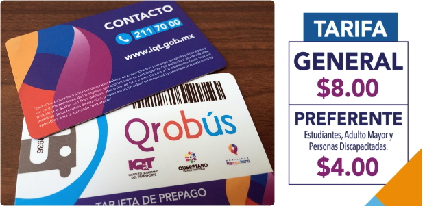 Santiago de Queretaro, Mexico's public transportation system (QROBus) uses RFID prepaid cards. General bus tickets on public buses were $8 MXN (pesos) at the time of our visit.