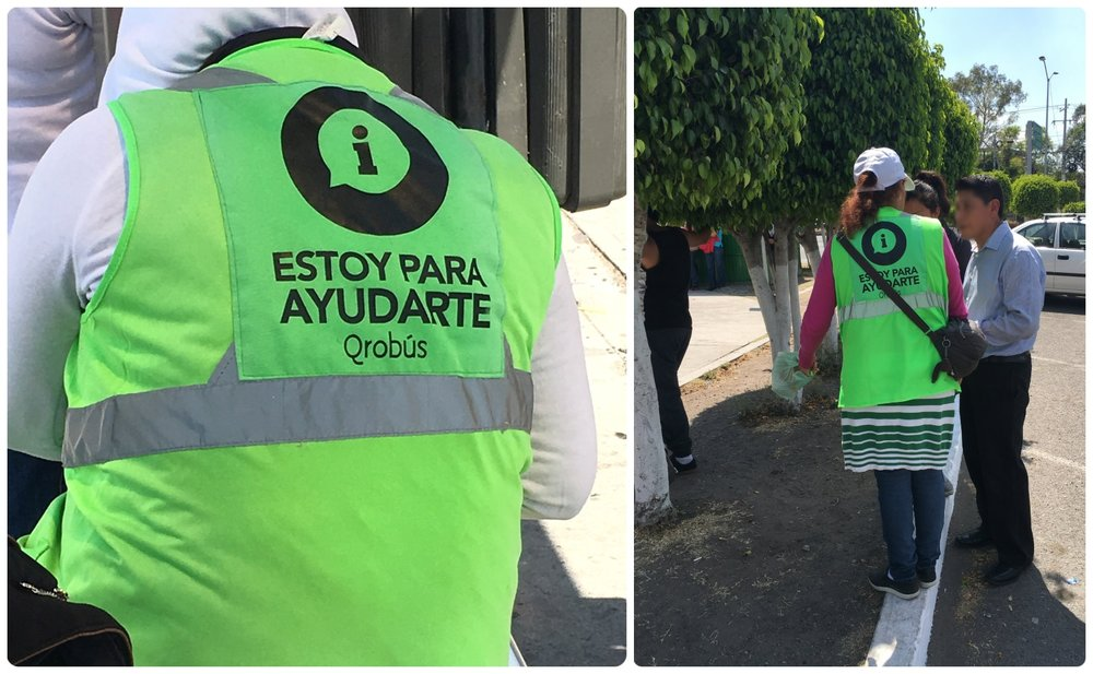 "Look for the attendants at bus stops wearing bright green vests that say "" Estoy para Ayudarte "" to get transportation help and reload your QROBus card. Santiago de Queretaro, Mexico"