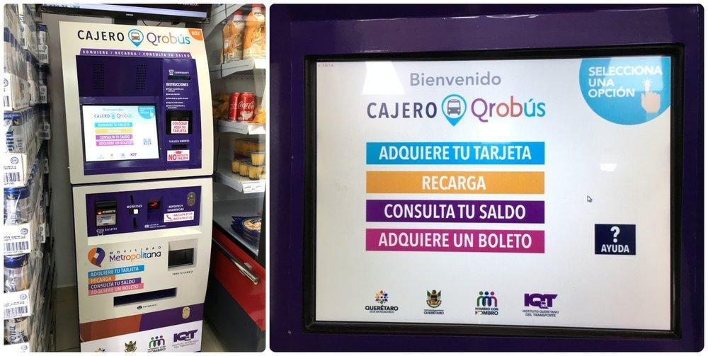 QROBus prepaid card self service kiosk (' cajero ') menu options. Santiago de Queretaro, Mexico.