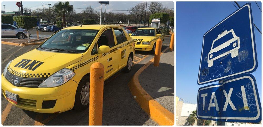 Taxis and Ubers are common in Santiago de Queretaro, Mexico.