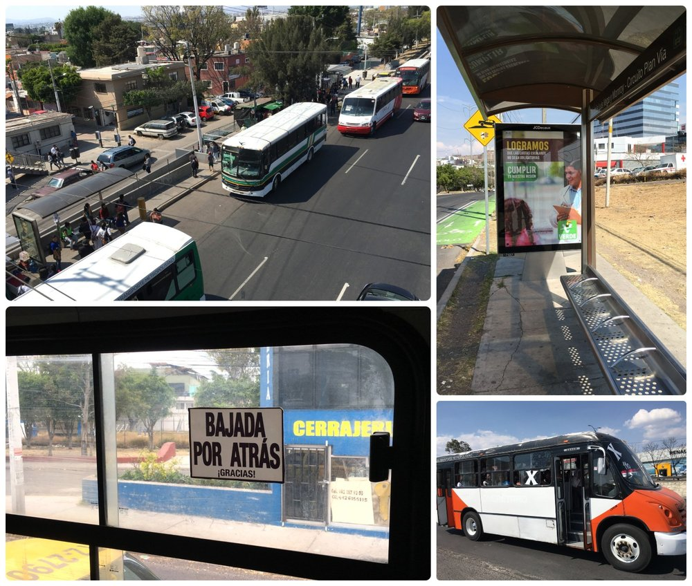 Public transportation in Santiago de Queretaro, Mexico. ' Bajada por atras ' in the bottom left image translates to ' Exit at the back (of the bus) '.