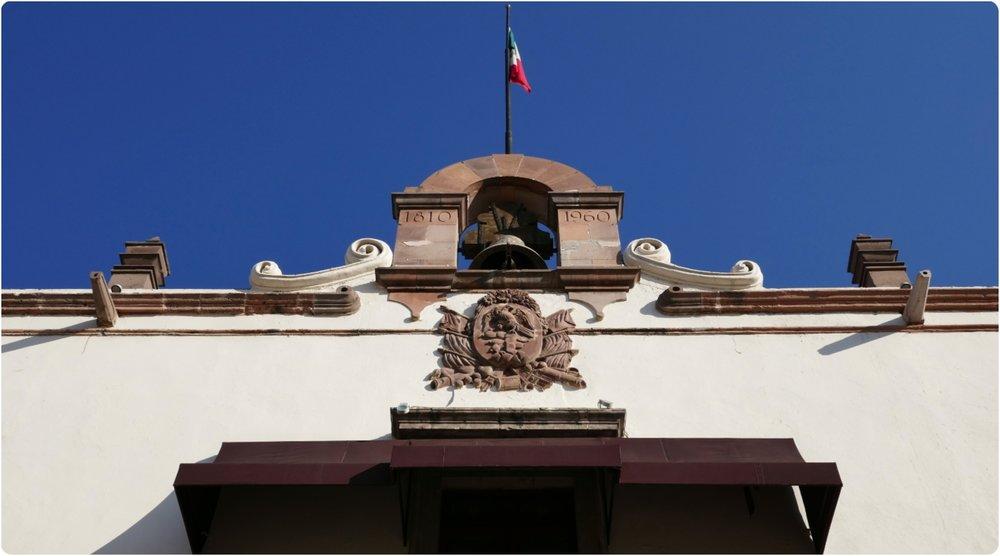 La Casa de la Corregidora is located at Plaza de Armas (aka Plaza de Independencia) in Santiago de Queretaro, Mexico.