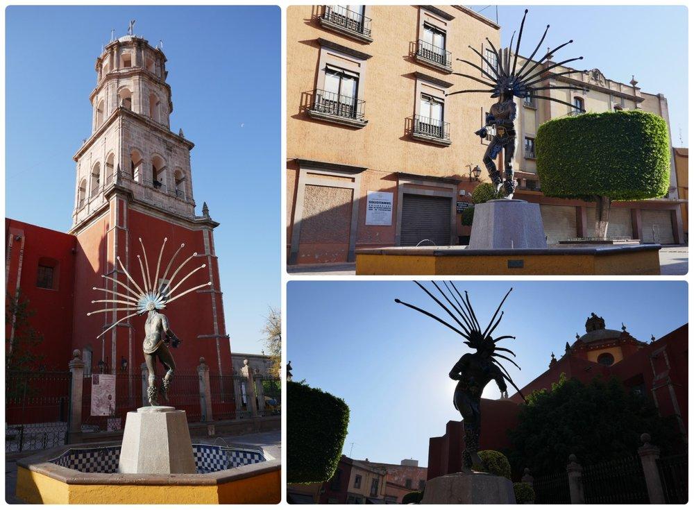 El Danzante Conchero Chichimeca Monument in Santiago de Queretaro, Mexico.