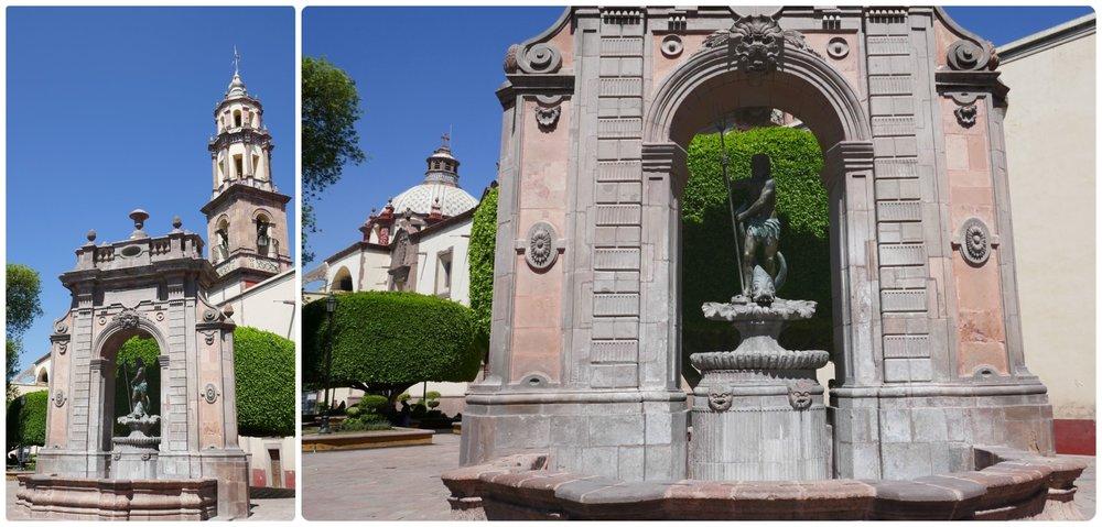 Fuente de Neptuno (Neptune Fountain) in Santiago de Queretaro, Mexico.