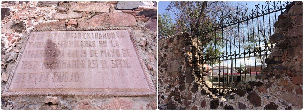 The breach of Santiago de Queretaro, Mexico's city wall in 1867. Located near the Plaza de los Fundadores and the Pantheon of the Illustrious Queretanos.