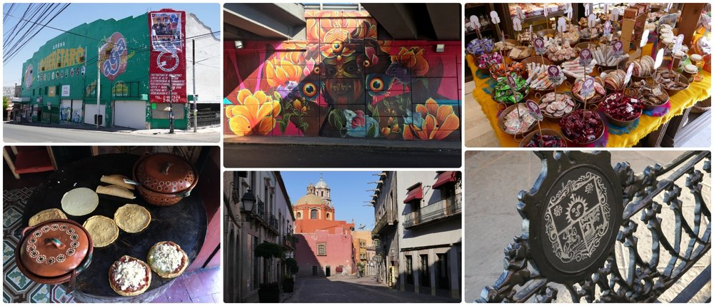 Santiago de Queretaro, Mexico. Clockwise (from the top left): Arena Queretaro,  Caco's Garden  mural by Gleo, Dulzura Mexicana - a traditional Mexican candy (' dulce ') shop, a bench with the city crest on it, one of the many charming streets in the city, delicious street food (sopes).
