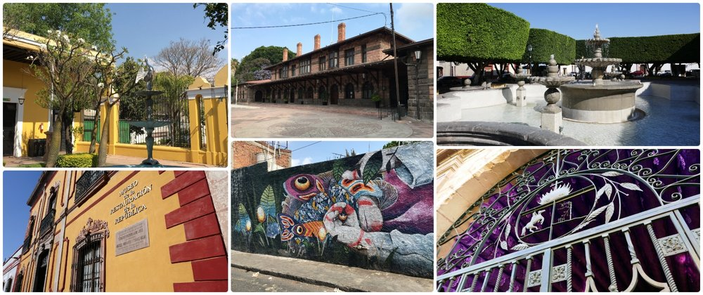 Sightseeing in Santiago de Queretaro, Mexico. Clockwise (from the top left): A bright courtyard in city center, a former train station and current museum, the fountain in Jardin Guerrero, an artistic interpretation of the city crest on a gate, colorful street art, Museo de la Restauracion de la Republica.