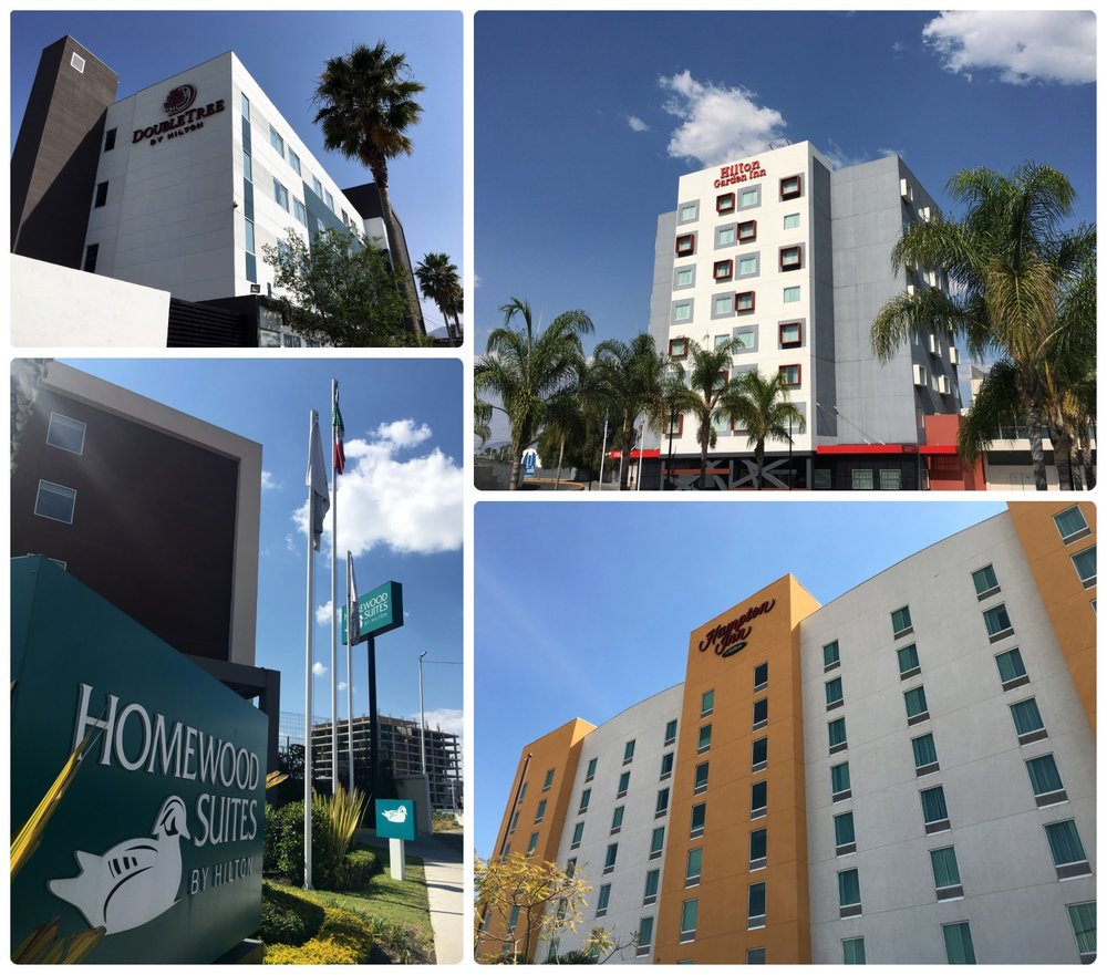 The Hilton properties in Santiago de Queretaro, Mexico that we stayed at for our 41 day mattress run (DoubleTree by Hilton, Hilton Garden Inn, Hampton by Hilton, and Homewood Suites by Hilton).