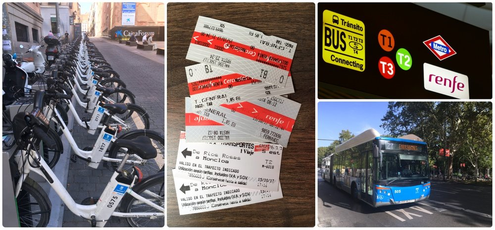 Madrid public transportation bikes tickets renfe metro bus airport terminal t1 t2 t3 getting around the city rideshare uber taxi spain