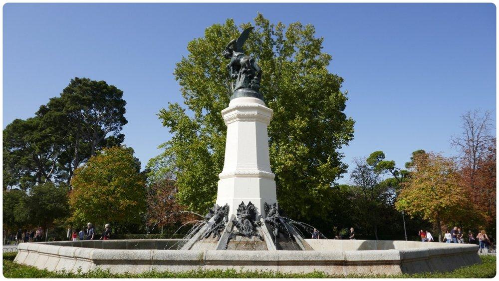 The Fallen Angel by Ricardo Bellver (Fuente del Angel Caido) in El Retiro Park, Madrid, Spain.