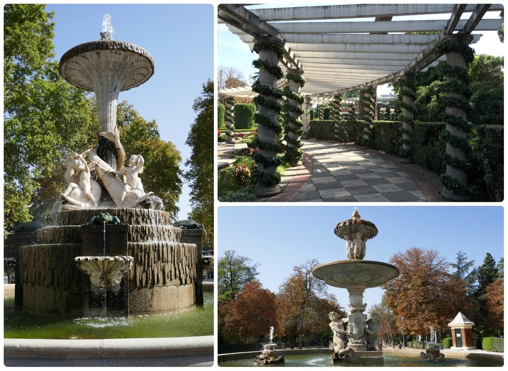 Gardens and monuments in El Retiro Park, Madrid, Spain. Clockwise (from the left): Fuente de los Galapagos, Cecilio Rodríguez Garden, and Fuente de la Alcachofa.