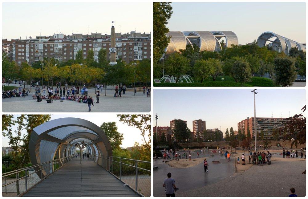 Recreational areas, a plaza, and Puente de Arganzuela in Madrid Rio Park, Madrid, Spain.