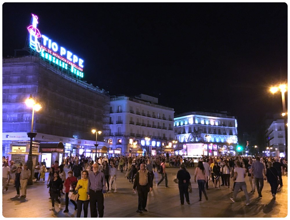 Puerta del Sol in Madrid, Spain is crowded day and night!