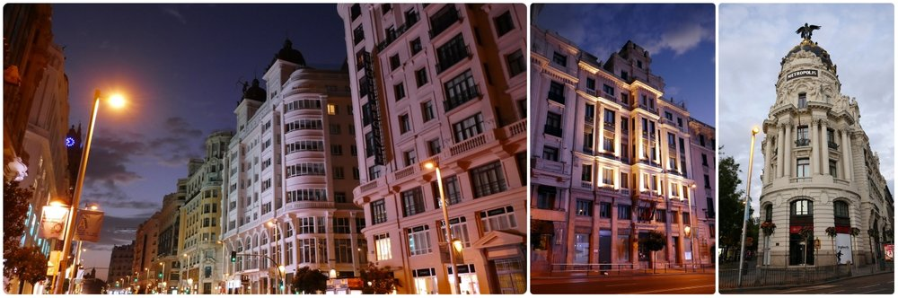 Neo Classic architecture on Gran Via in Madrid, Spain at dawn and the Metropolis building at sunrise.