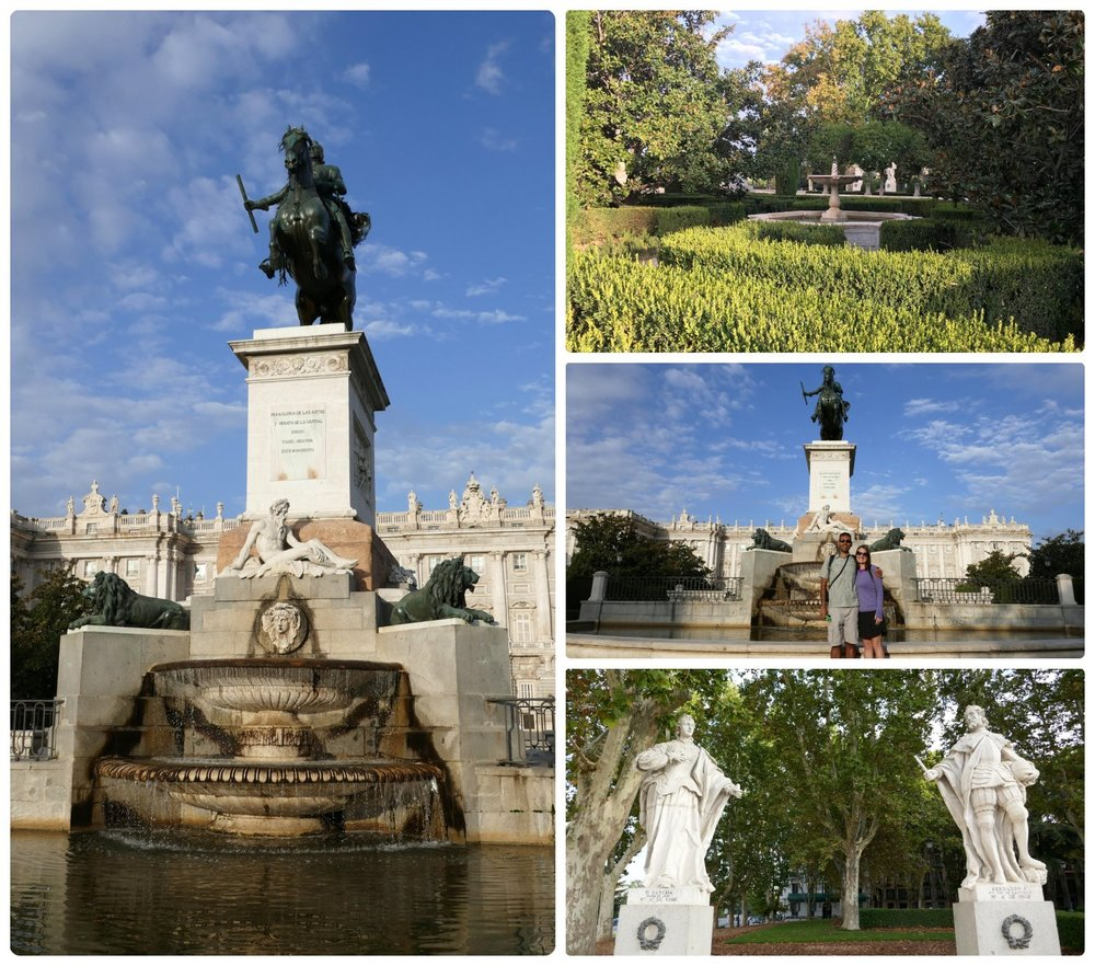 Plaza de Oriente and the Monumento a Felipe IV in Madrid, Spain.
