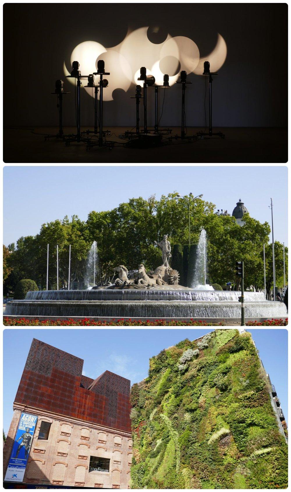 Madrid, Spain. Top to bottom: Promotion of Art (Tabacalera Promoción del Arte), Neptune Fountain (Fuente de Neptuno), Vertical Garden in CaixaForum (Jardín Vertical CaixaForum).