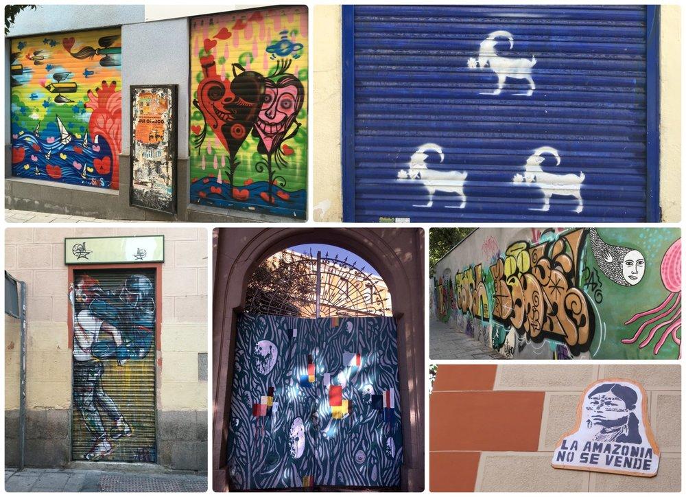 Street art throughout Madrid, Spain.