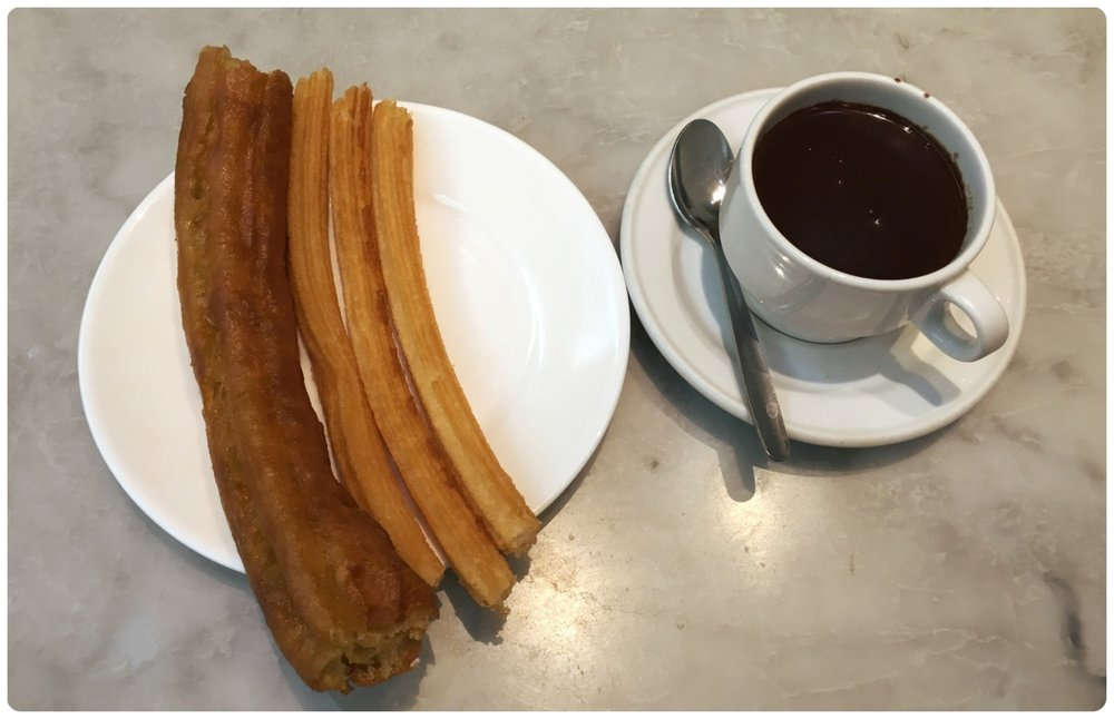 Traditional Spanish Churros, Porras, and hot chocolate… Yum!
