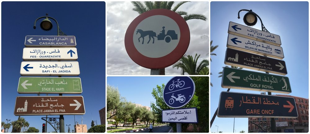 Marrakech Marrakesh Morocco tourist tips and travel information tourist signs directions walking exploring crossing horse carriage donkey bikes scooters sidewalk